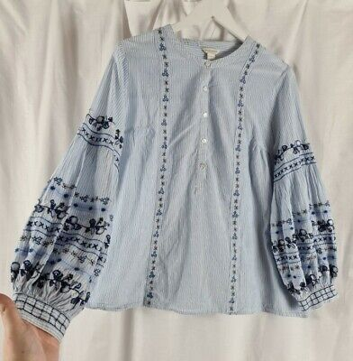 £24.99 • Buy Monsoon Blue Stripe Floral Embroidered Boho Top Blouse Size 18 Peasant Prairie