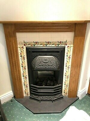 £9 • Buy Coal Effect Gas Fire With Wooden Surround, Fireplace And Slate Hearth.