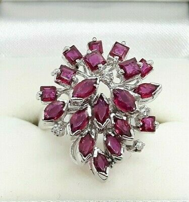 £995 • Buy Vintage 18ct White Gold 2.95ct Natural Ruby And Diamond Cluster Cocktail Ring