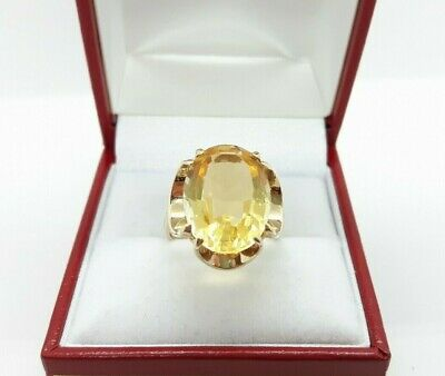 £350 • Buy Vintage 9ct Yellow Gold 7.00cts Natural Citrine Solitaire Cocktail Ring