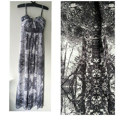 £15 • Buy Ted Baker Enchanted Forest Maxi Dress Grey Black White Tree Print Prom XS 6