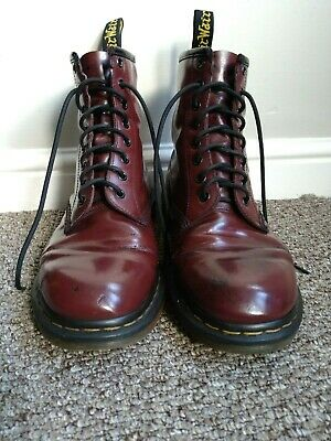 £15 • Buy Authentic Dr Martens Cherry Red 1460 Boots With Patina UK 9 Punk Burgundy
