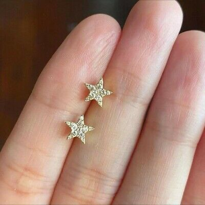 £100 • Buy 18ct SOLID Gold STAR Studs Set With 0.20ct Diamonds Cluster Earrings TCW
