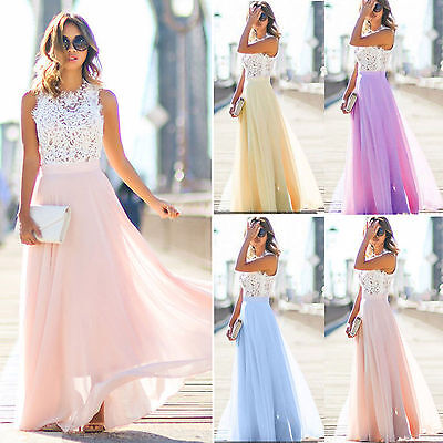 £16.19 • Buy Womens Sleeveless Lace Maxi Dress Party Formal Prom Wedding Bridesmaid Dresses