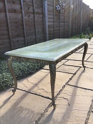 £125 • Buy Vintage Circa 70s Green Marble Top Coffee Table, Rococo Style Brass Frame & Legs