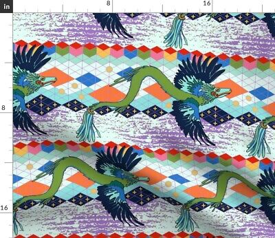 £9.20 • Buy Dragon Mexican Cosmic Aztec Gods Feathered Spoonflower Fabric By The Yard