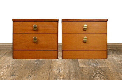 £220 • Buy Vintage Retro Mid Century Stag Cantata Teak Bedside Lamp Table Two Drawers