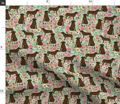 £9.21 • Buy Chocolate Lab, Florals, Labrador, Retriever, Spoonflower Fabric By The Yard