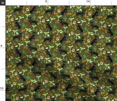 £15.58 • Buy Min Pin Miniature Pinscher Fiesta Party Mexican Spoonflower Fabric By The Yard