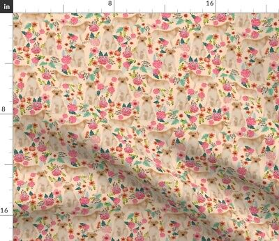 £9.92 • Buy Labrador Florals Light Peach Cute Girly Yellow Spoonflower Fabric By The Yard