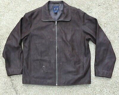 $65.98 • Buy GAP Mens Size Large Distressed Brown Leather Jacket Coat Zip Front