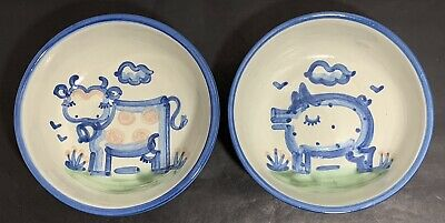 """$19.99 • Buy M A Hadley Pottery 6"""" Bowls (Cow And Pig)"""