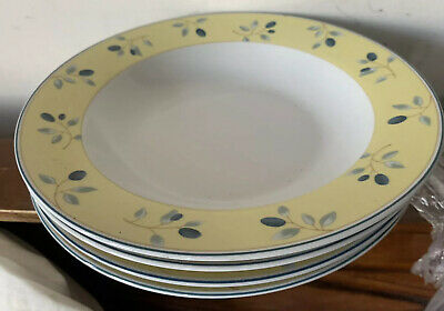 £12 • Buy Set 4 ROYAL DOULTON BLUEBERRY YELLOW RIMMED SOUP CEREAL DESSERT BOWLS 8.5ins VGC