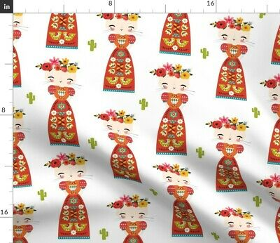 £9.20 • Buy Pink Flowers Floral Cactus Mexican Boho Baby Girl Spoonflower Fabric By The Yard