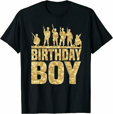 $19.99 • Buy Birthday Boy Army Party Military Party Supplies Camo Gift - T-Shirt S-5XL