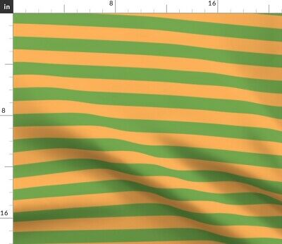 £14.85 • Buy Green Orange Camping Stripes Solid Camp Stripe Spoonflower Fabric By The Yard