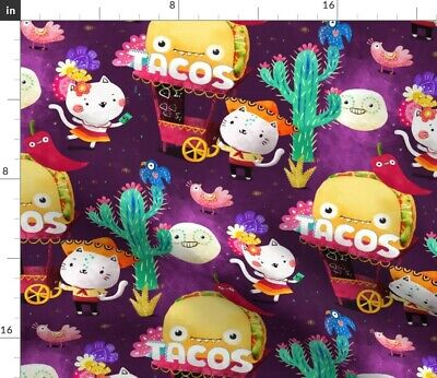 £9.20 • Buy Mexican Taco Taco And Burritos Spoonflower Fabric By The Yard