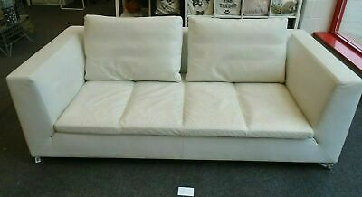£1695 • Buy An Exquisite LIGNE ROSET 3 Seater White Leather Sofa With Contempory Metal Legs.