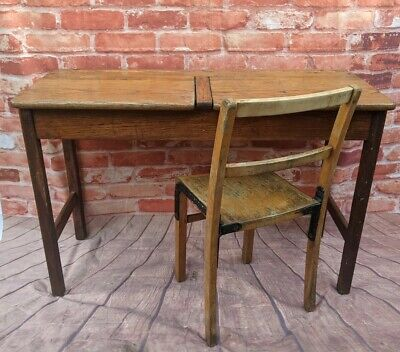 £115 • Buy Double Vintage School Desk And Chairs With Metal Fixings