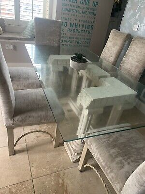 £180 • Buy Kesterport Glass And Stone Dining Table & 6 Mink Velvet Chairs