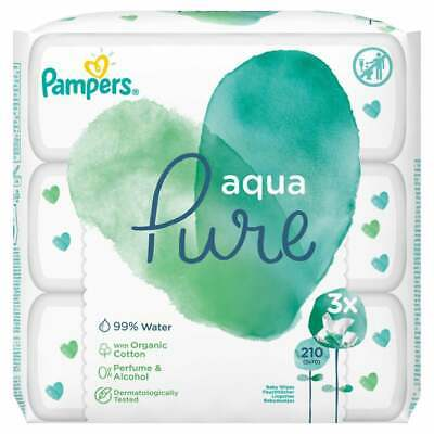 £10.99 • Buy Pampers Aqua Pure Baby Wipes 3 Packs X 70 (210 Wipes)