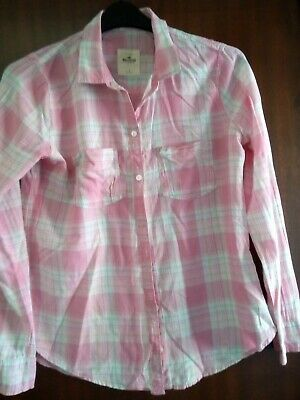 £0.99 • Buy Hollister Shirt - Large - Pink/White Check - Long Sleeve - Front Pockets