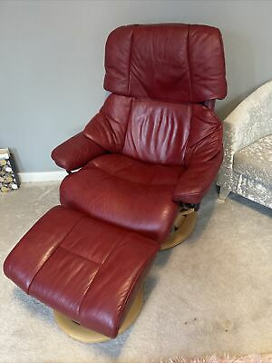 £150 • Buy Ekornes Stressless Red Leather Recliner Chair And Foot Stool