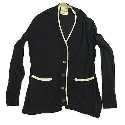 $0.99 • Buy M Rena S Button Up Slit Back Cardigan Sweater With Pockets Contrast Trim