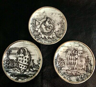 £14.15 • Buy Set Of 3 VINTAGE FORNASETTI Gold Shell Women Black And White Coasters
