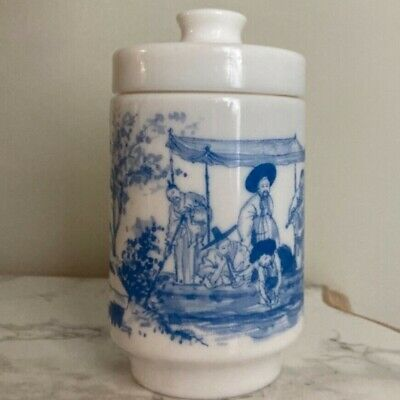 $18 • Buy 1950's Apothecary Belgium Milk Glass BlueOriental Water Boat Scene 6  Canister