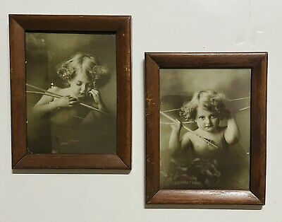 $9.99 • Buy Antique Cupid Awake Cupid Asleep Lot Of Two Picture Frames M.B. Parkinson