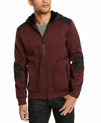 £0.70 • Buy INC Mens Jacket Red Size XL Faux-Fur Lined Front Zip Hooded Mix Media $99 #373