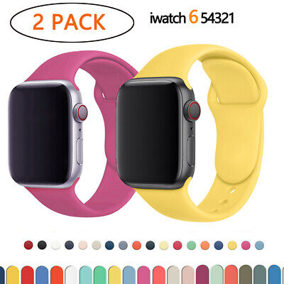 $ CDN6.19 • Buy 2PACK For Apple Watch Series 6 5 4 3 2 1 Strap Watchband Band Serie Silicone
