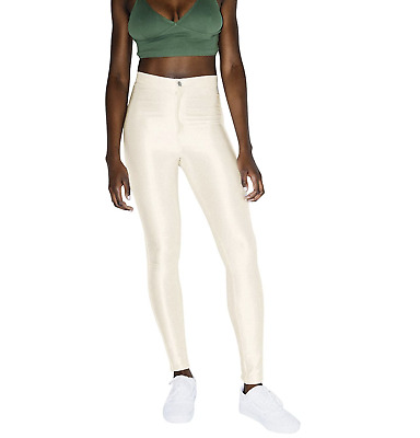 £25.35 • Buy American Apparel Ivory Pearl Disco High Rise Shiny Pants Size M