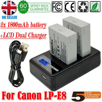 £18.99 • Buy 2x LP-E8 Battery+LCD Dual Charger For Canon EOS 700D 550D 650D 600D DSLR Camera