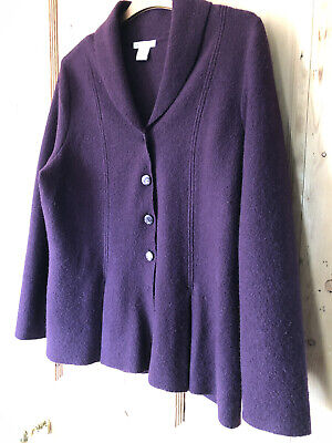 £4.70 • Buy Large Size Boiled Wool Jacket Purple/aubergine 18 Excellent Quality Back Vent
