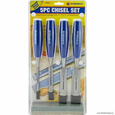£7.99 • Buy 5pc Wood Carving Chisel Set With Sharpening Oil Stone Carpentry Diy Tools New