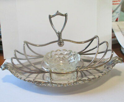 £15.99 • Buy Antique Toast Rack With Glass Jam/butter Dish Walker & Hall 1885