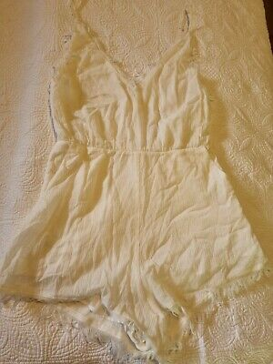 AU40 • Buy Zulu And Zephyr Whispering Playsuit White Size 12 RRP $110 BNWT