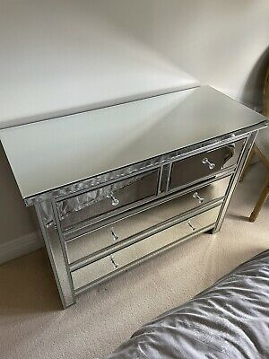 £115 • Buy Silver Venetian Mirrored Furniture Set Chest Of Drawers & Pair Of Bedside Tables
