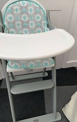 £15 • Buy East Coast Wooden High Chair- White & Grey Complete W. High Chair Insert Cushion