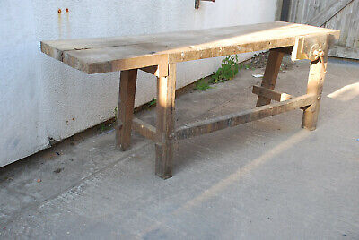 £250 • Buy Vintage Joiners Bench's With Vice Workshop Store Solid & Old Character Display