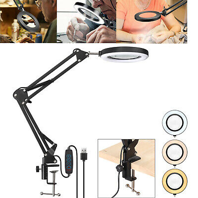 £22.45 • Buy LED Desk Lamp 10X Magnifier Glass Foldable Light Stand Clamp Beauty Magnifying
