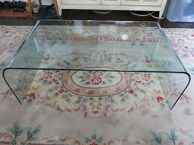 £50 • Buy Large Glass Curved Coffee Table - Ligne Roset Design - Very Good Condition