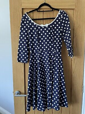 £1.60 • Buy Collectif Polka Dot Swing Dress 50's Repro-vintage Style Size 10