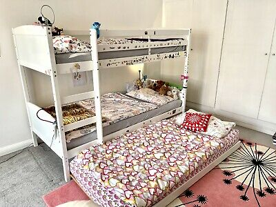 £0.99 • Buy Bunk Bed, Converts To Single, 3 Sleeper, Trundle, Solid Pine, White