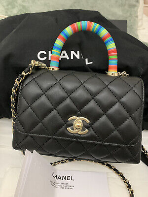 AU6680 • Buy Chanel 2021 Coco Handle Extra Mini Black Brand New With Card, Receipt, Dust Bag