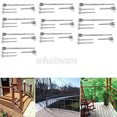 £43.99 • Buy 10 Set Stainless Steel Wire Rope DIY Balustrade Kit Jaw / Swage Fork Turnbuckle