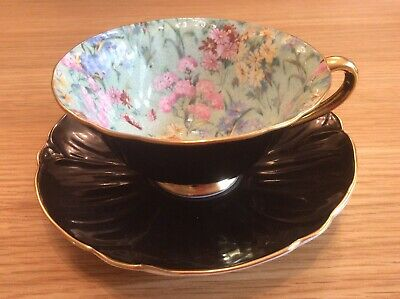 £253.23 • Buy Shelley BLACK MELODY CHINTZ FOOTED OLEANDER CUP, SAUCER & PLATE #13412 GOLD