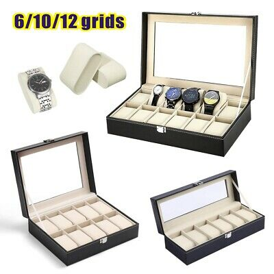 £10.29 • Buy Mens 6 10 12 Grids PU Leather Watch Display Case Collection Storage Holder Box